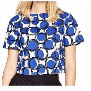 kate spade crop blue dot blouse shirt small new